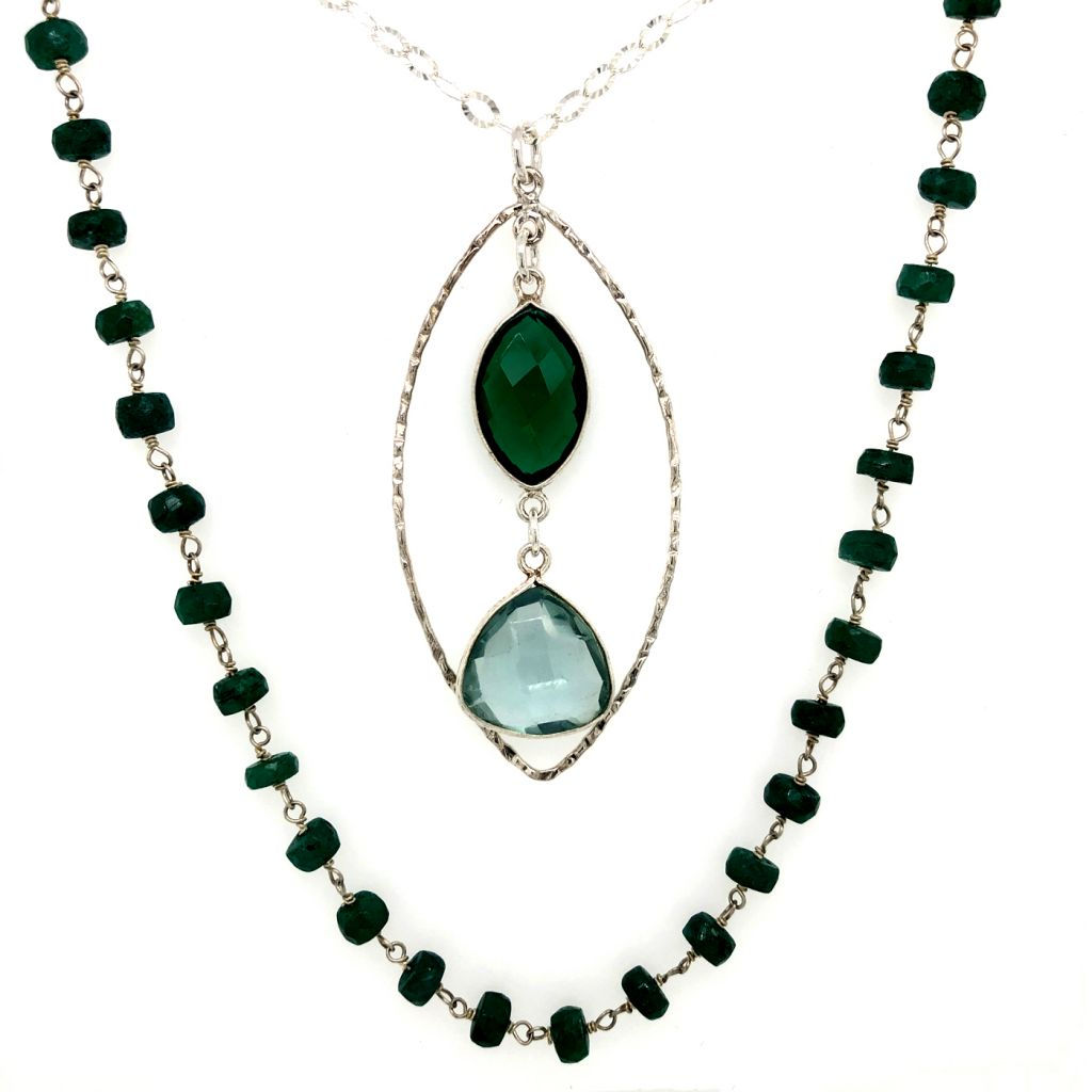 "Image Description of ""Sterling Silver & Green Onyx Gemstone Chain Necklace with Bezeled Gemstones Pendant""."