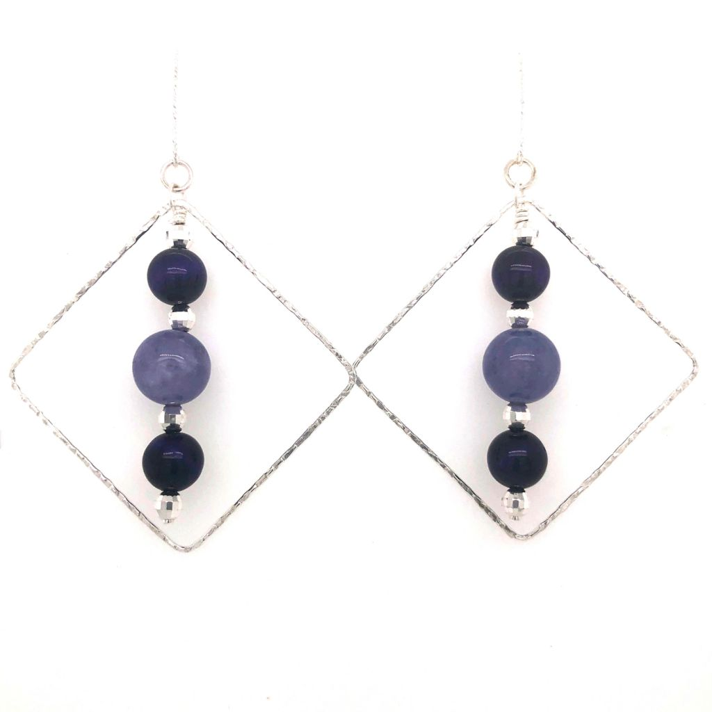 "Image Description of ""Tanzanite Quartz & Purple Tiger Eye Earrings""."