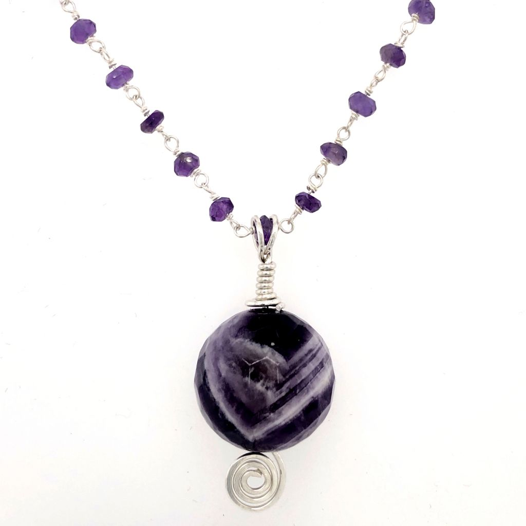 "Image Description of ""Chevron Amethyst Pendant Necklace""."