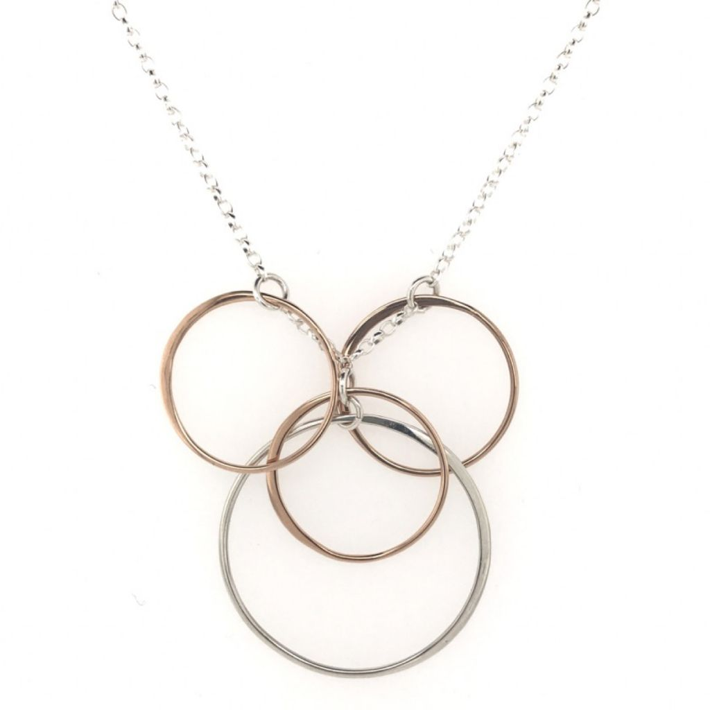"Image Description of ""Rose Gold & Sterling Silver Multi Circles Necklace""."