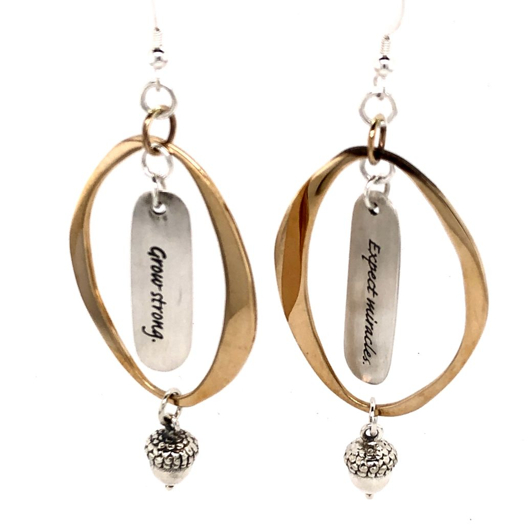 "Image Description of ""Large Abstract 24K Gold Plate Oval with Messages Earrings""."