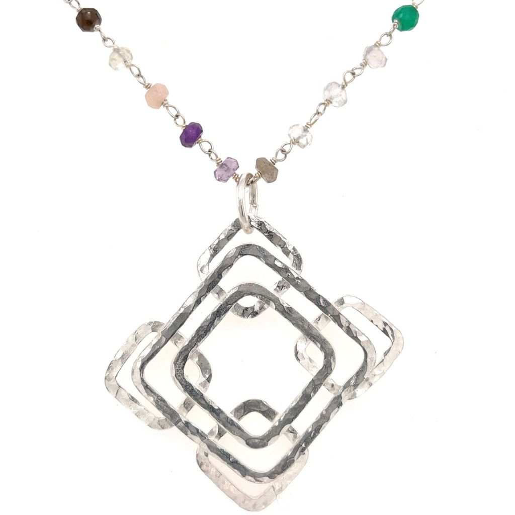Sterling Silver Pendant of Layered Hammered Squares on a Disco Gemstone Chain Necklace