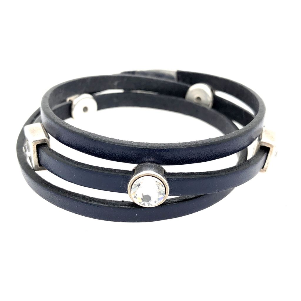 "Image Description of ""Navy 5 mm Flat Leather Triple Wrap Bracelet""."