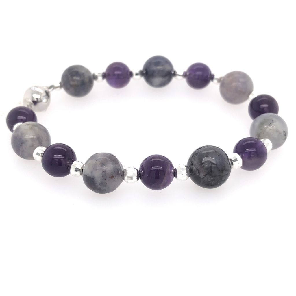 "Image Description of ""Iolite & Amethyst Rounds with Sterling Silver Diamond Cut Rounds Bracelet""."