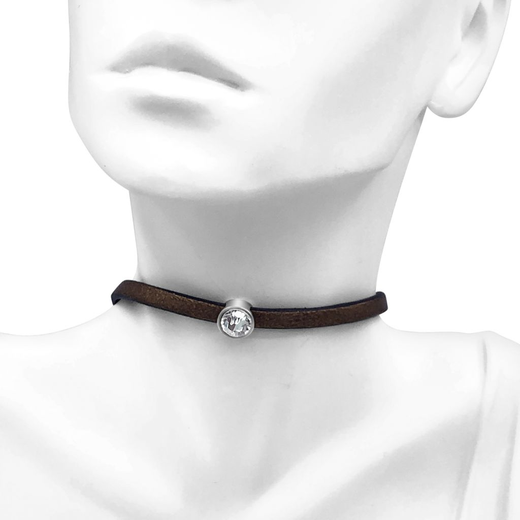 "Image Description of ""Bronze 5 mm Flat Leather Choker Necklace with Single Round Crystal Slide ""."