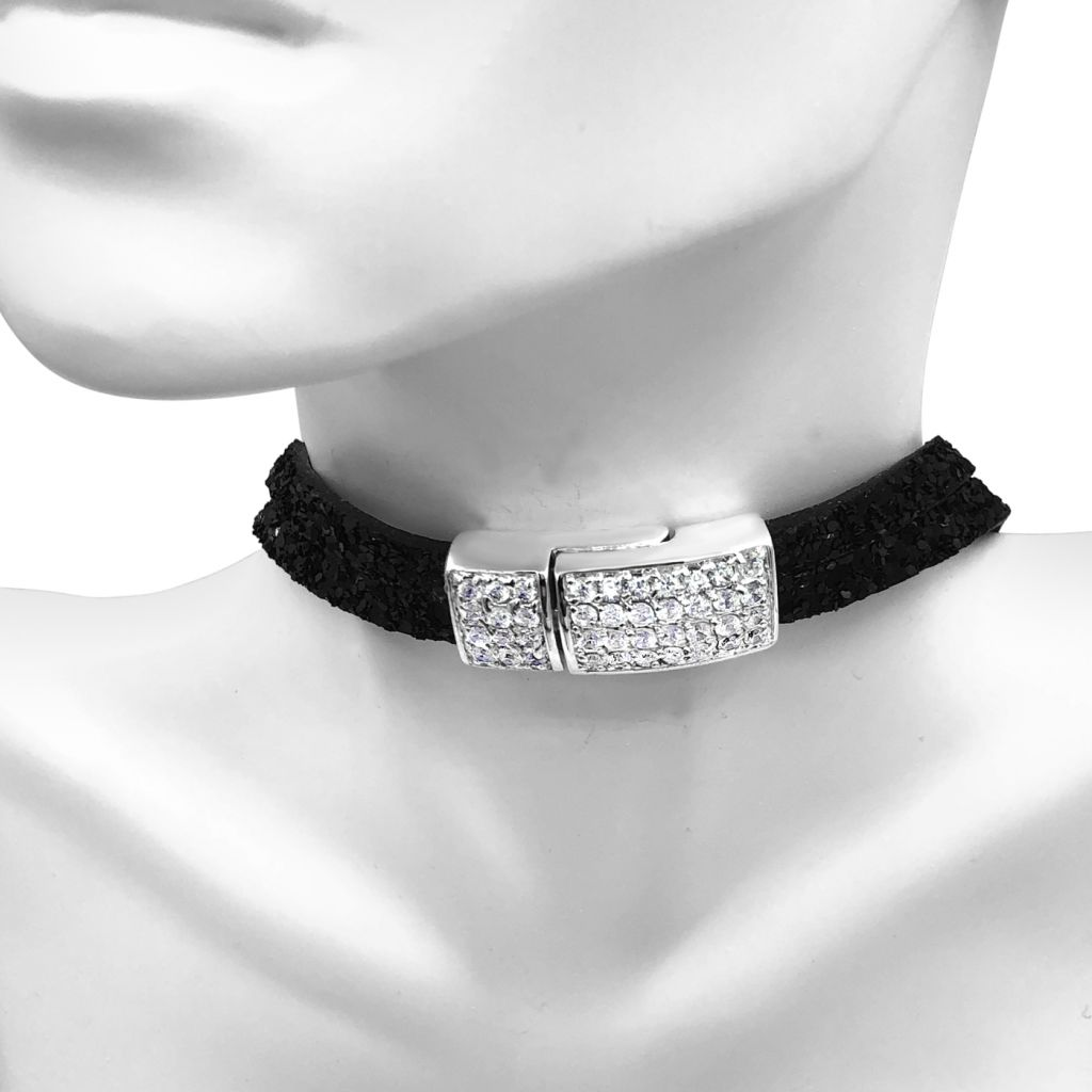 "Image Description of ""Two Strand Black Glitter Leather Choker Necklace with Full Pave Crystal Clasp""."