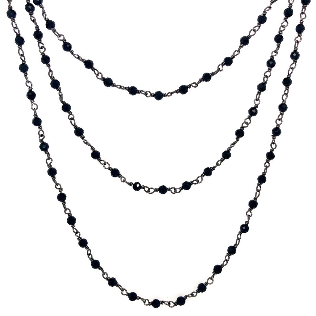 "Image Description of ""Three Strand Black Oxidized Sterling Silver & Black Spinel Gemstone Chain Necklace""."