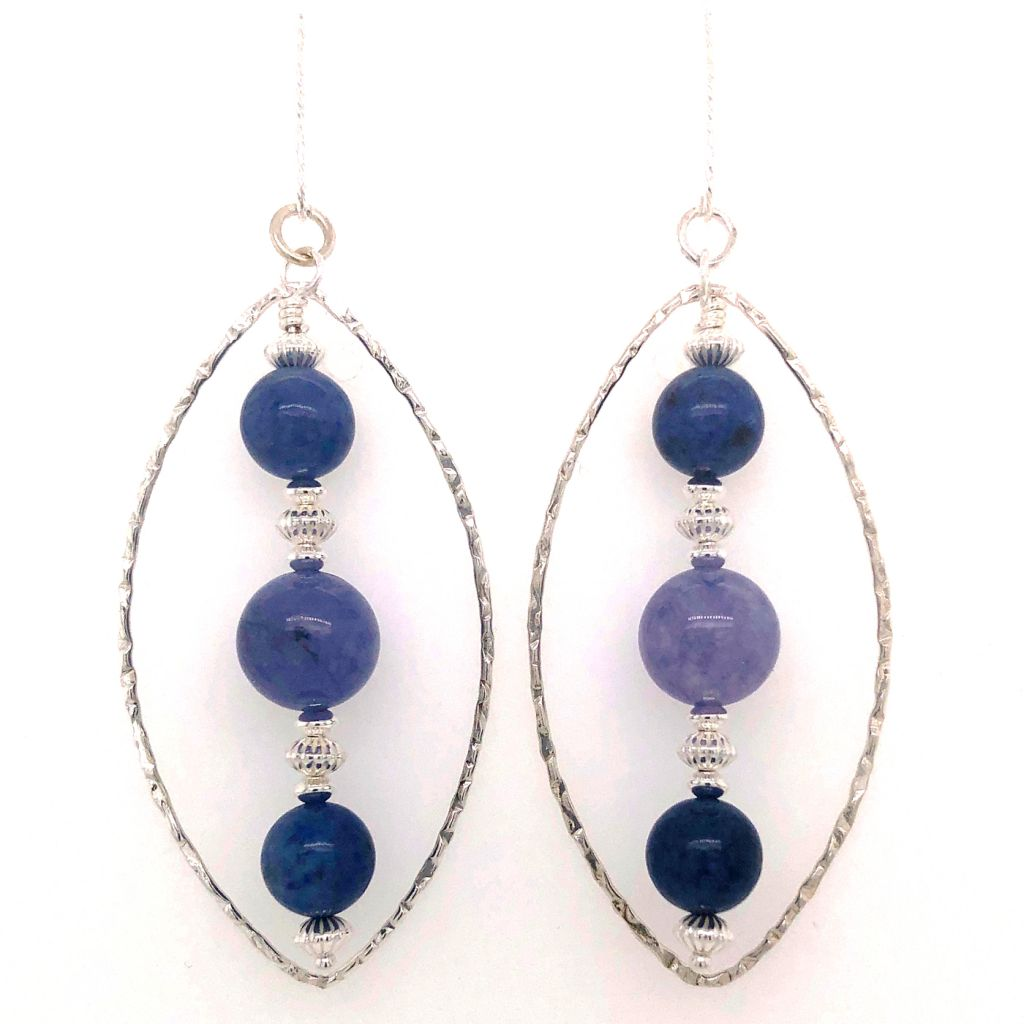"Image Description of ""Tanzanite Quartz and Dumortierite Earrings""."