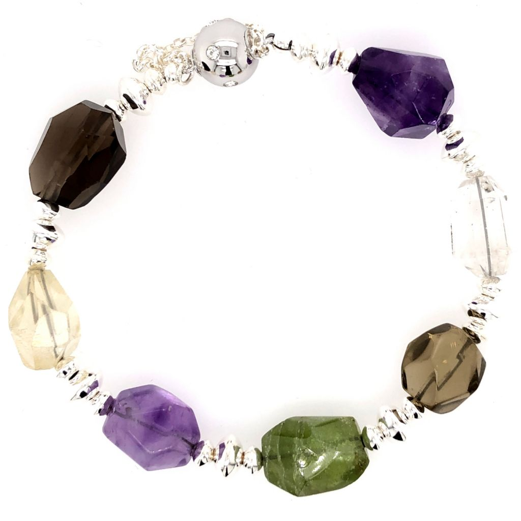 "Image Description of ""Rough-Cut Multi-Gemstone Bracelet""."