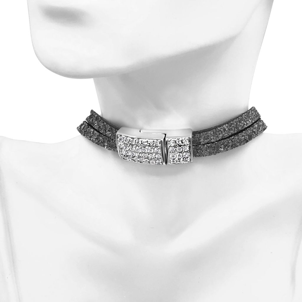 "Image Description of ""Two Strand Grey Glitter Leather Choker Necklace with Full Pave Crystal Clasp""."