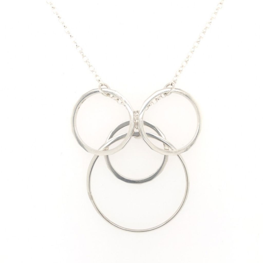 "Image Description of ""Sterling Silver Multi Circles Necklace""."