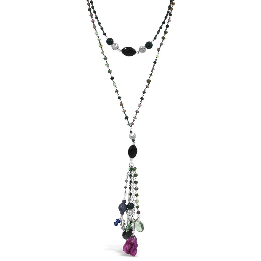 "Image Description of ""Two Strand Gemstone Chain Necklace Pendant & Multi-Gemstone Drop""."