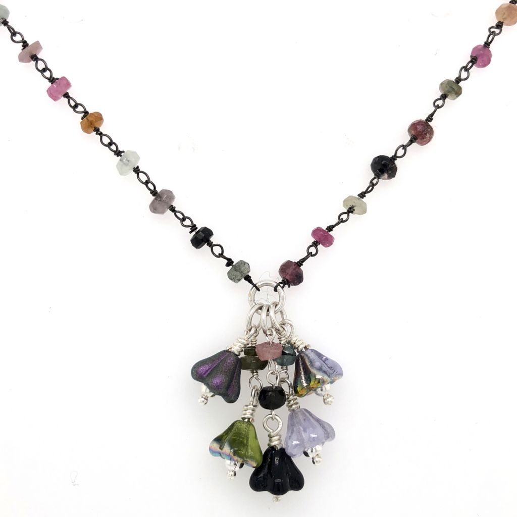 "Image Description of ""Sterling Silver Tourmaline Gemstone Necklace with Czech Glass Flowers""."