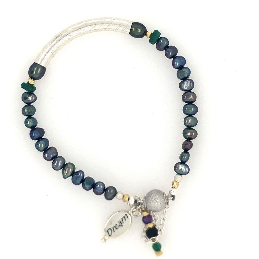 "Image Description of ""Sterling Tube & Peacock Freshwater Pearl Bracelet""."