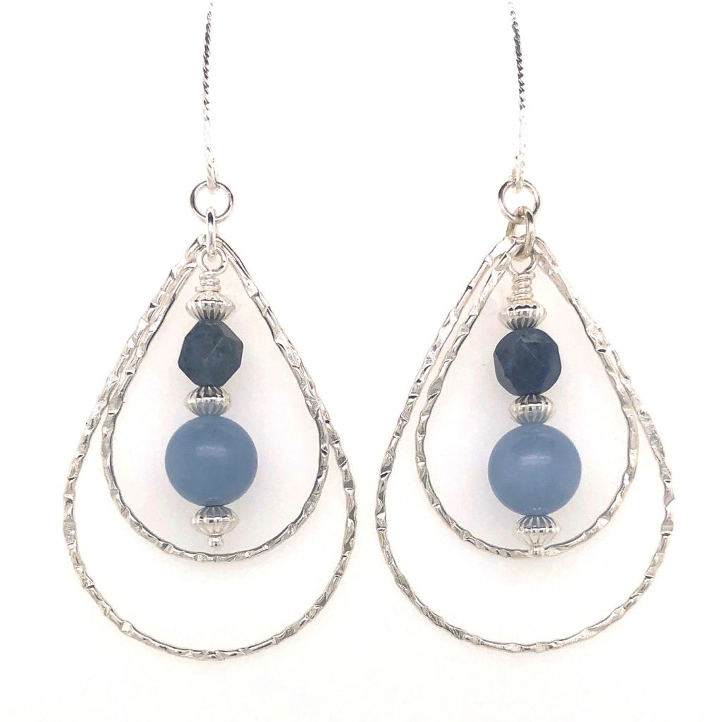 "Image Description of ""Sunset Dumortierite & Blue Angelite Earrings""."