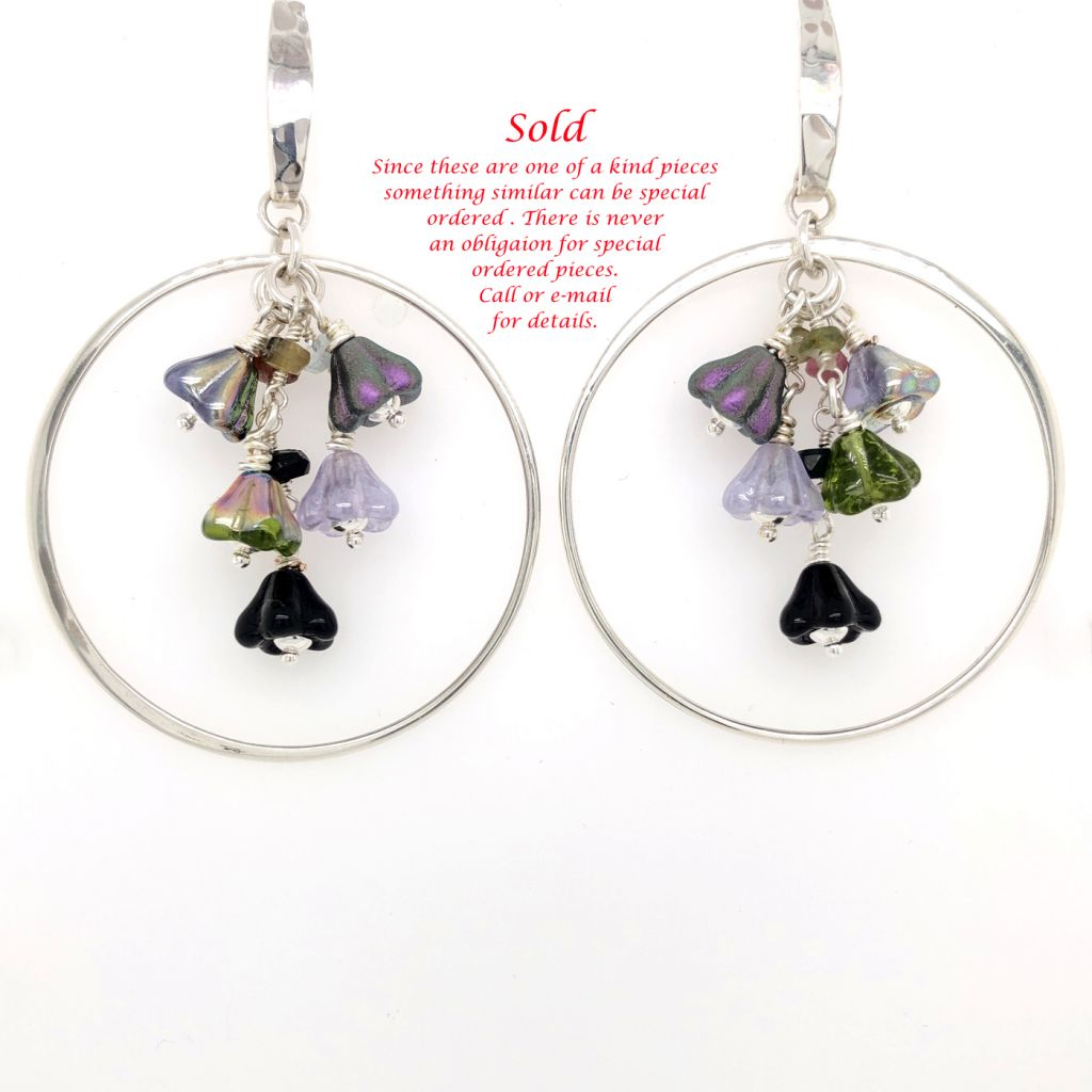 "Image Description of ""Sterling Silver Hoop Earrings with Czech Glass Flowers""."