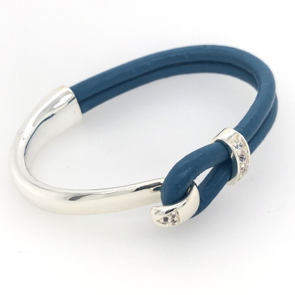 Cobalt Blue Round Portuguese Leather with Sterling Plated Bar Cuff Bracelet