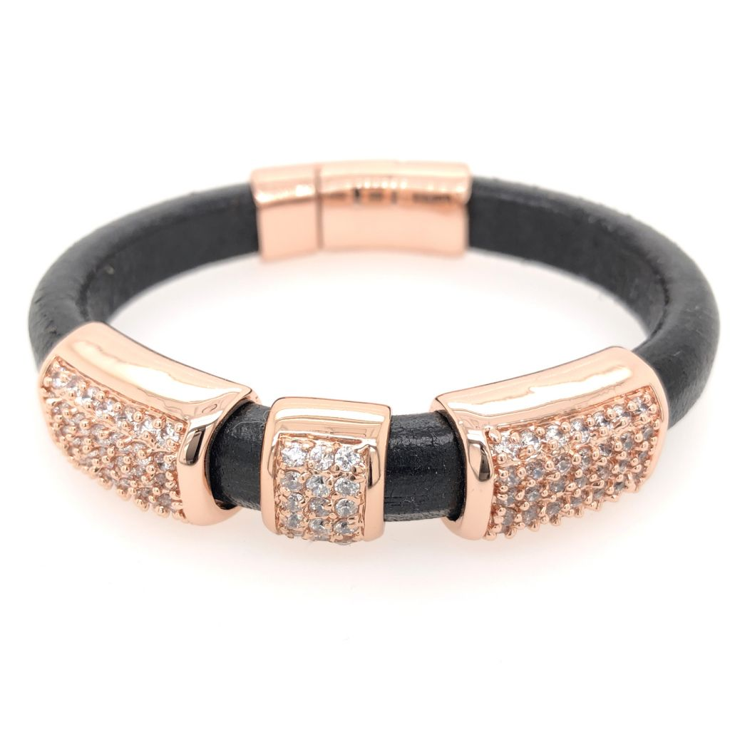 "Image Description of ""Back Regaliz™ Leather with Rose Gold Crystal Pave Slides & Clasp Bracelet""."