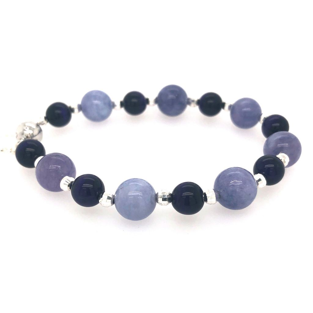 "Image Description of ""Tanzanite Quartz & Purple Tiger Eye Bracelet""."