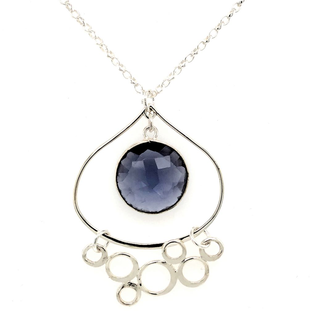 Sterling Silver Teardrop Pendant with Round Bezeled Iolite and Bubbled-Festoon Accent Necklace