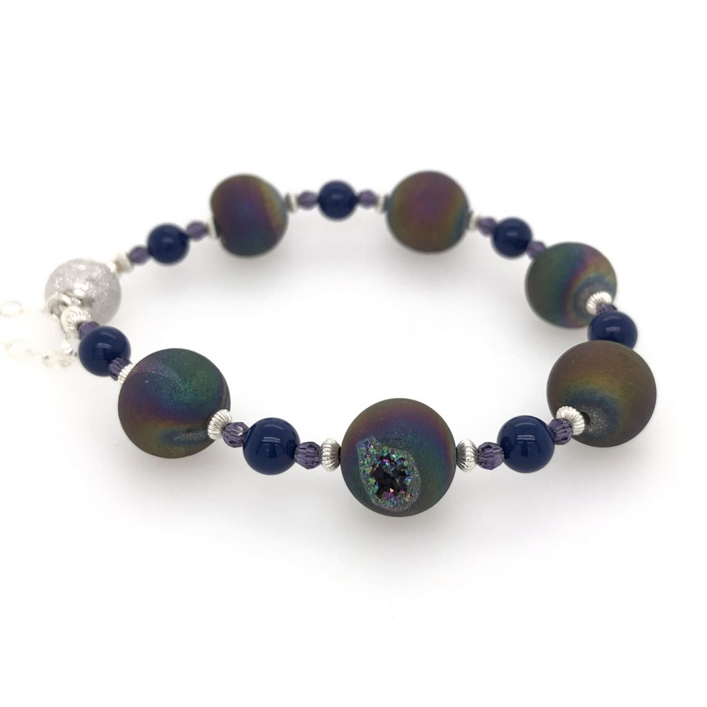 "Image Description of ""Rainbow Druzy Agate Bracelet""."