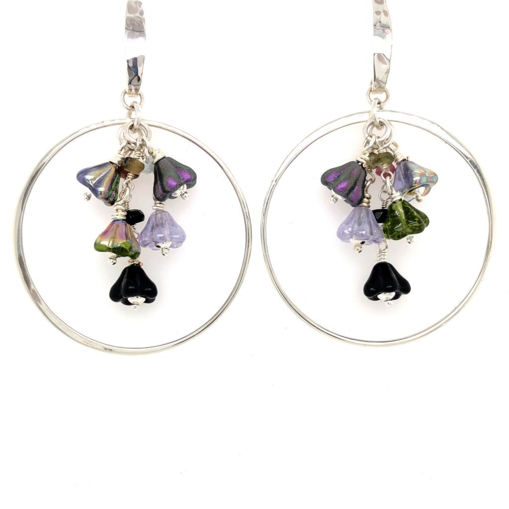 Sterling Silver Hoop Earrings with Czech Glass Flowers
