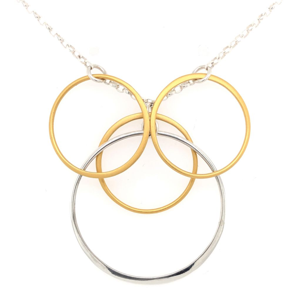 "Image Description of ""14K Gold Plated & Sterling Silver Multi Circles Necklace""."