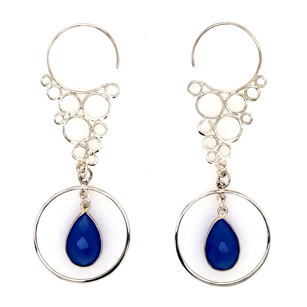 "Image Description of ""Sterling Silver Cascading Circles Hook Earrings""."