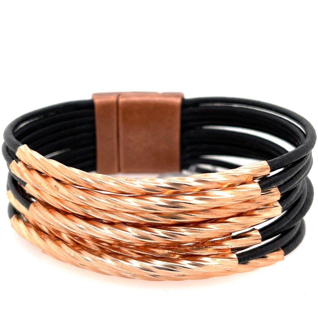 Multi-strand Copper Tube Leather Bracelet