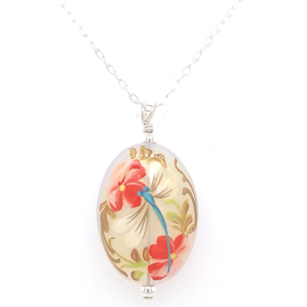 "Image Description of ""Oval Opal Glass Dragonfly Necklace""."