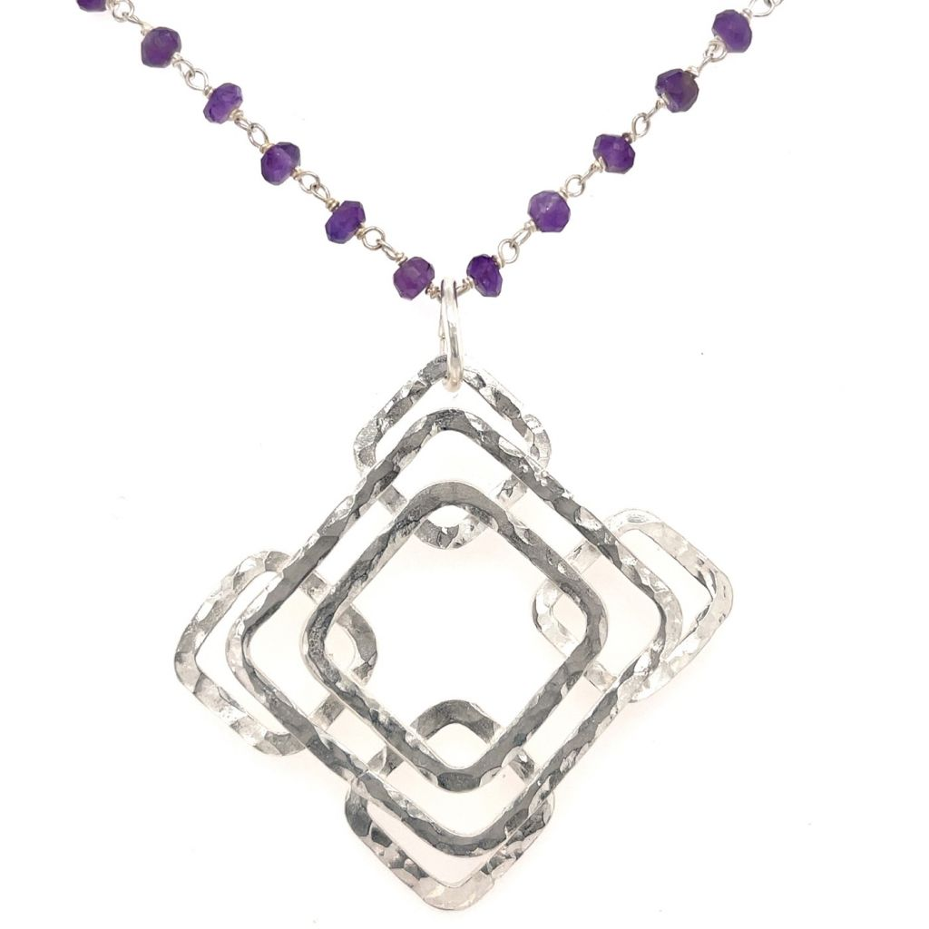 Sterling Silver Pendant with Layered Hammered Squares on a Amethyst Gemstone Chain Necklace