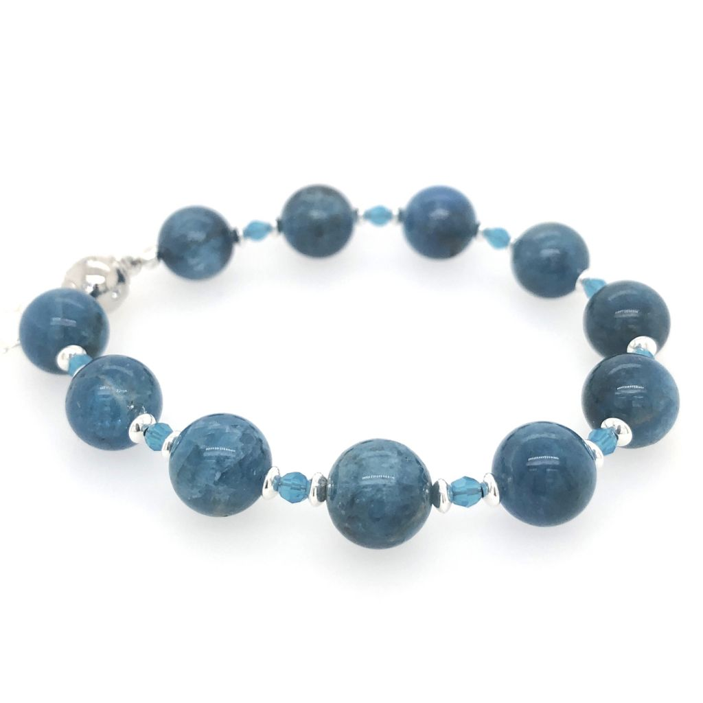 "Image Description of ""A Grade Blue Apatite Bracelet""."
