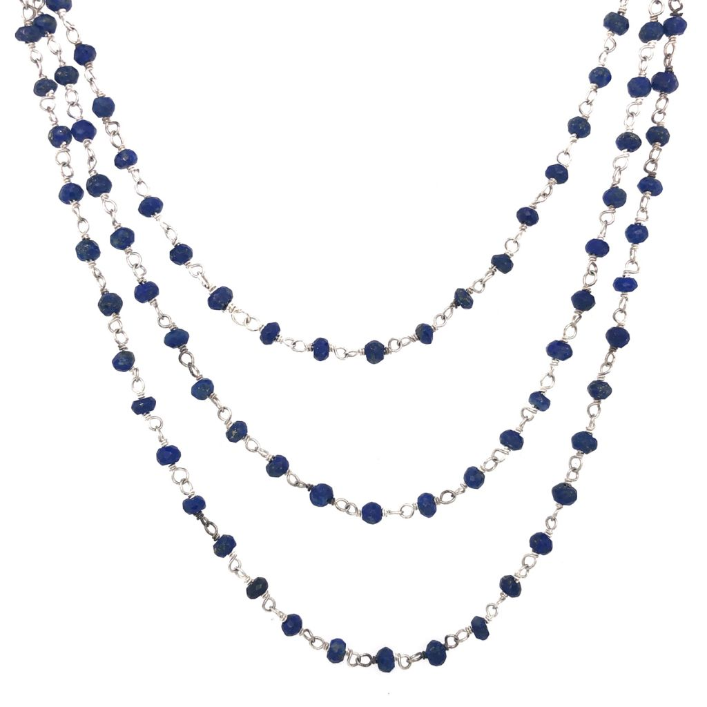 "Image Description of ""Three-Strand Sterling Silver & Sapphire Gemstone Chain Necklace ""."