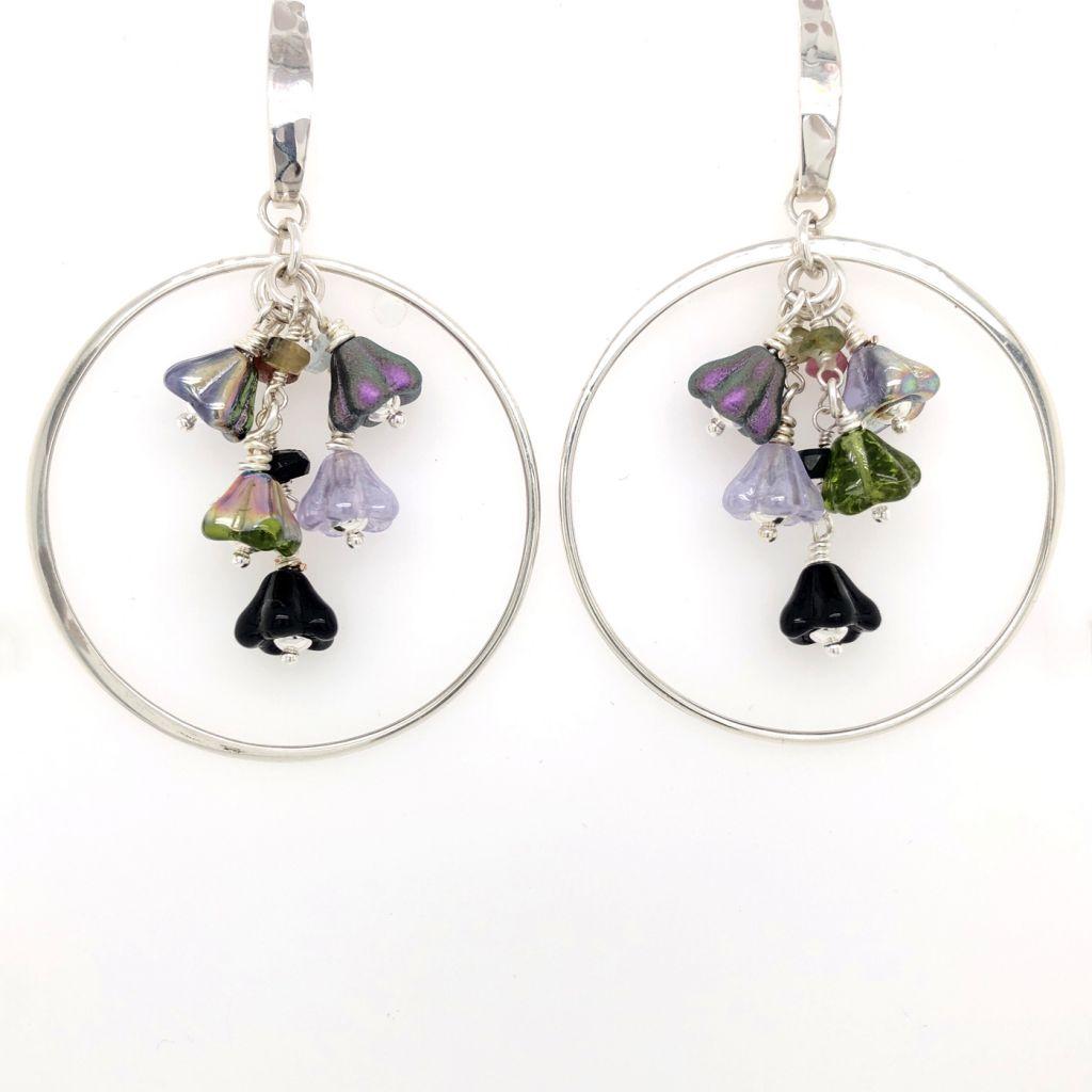 Sterling Silver Hoop Earrings with Czech Glass Flowers