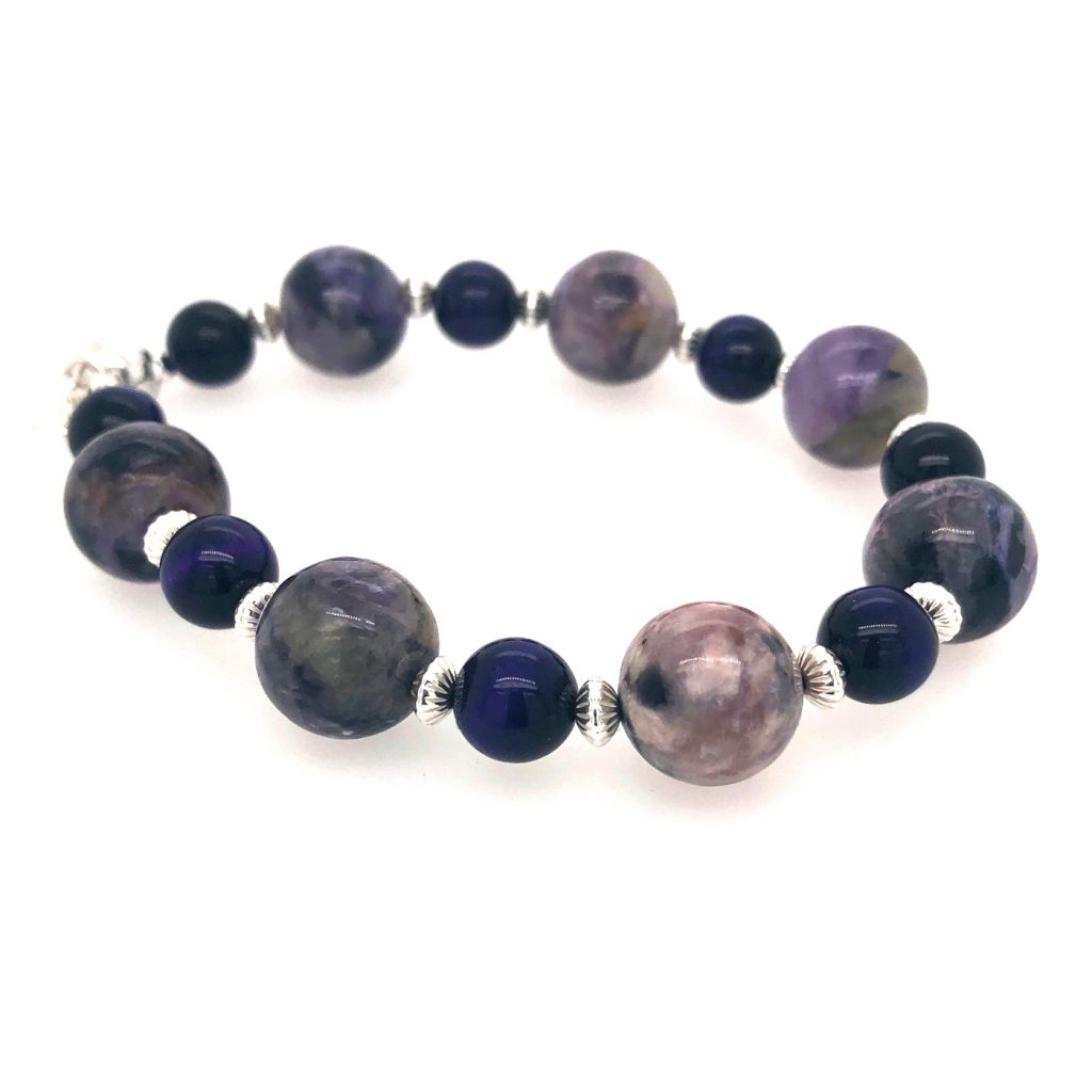 "Image Description of ""Charoite  & Purple Tiger Eye Rounds with Silver Accents Bracelet""."