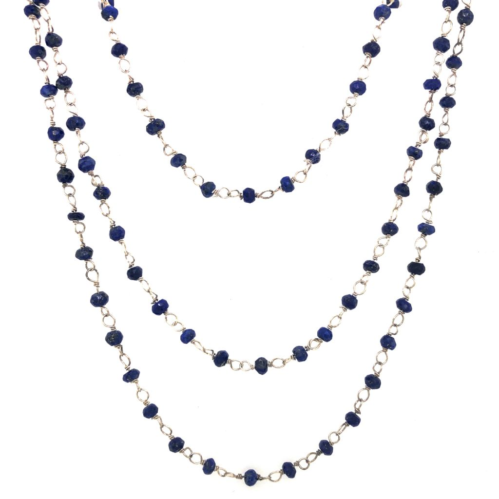 "Image Description of ""Three Strand Sterling Silver & Sapphire Gemstone Chain Necklace ""."