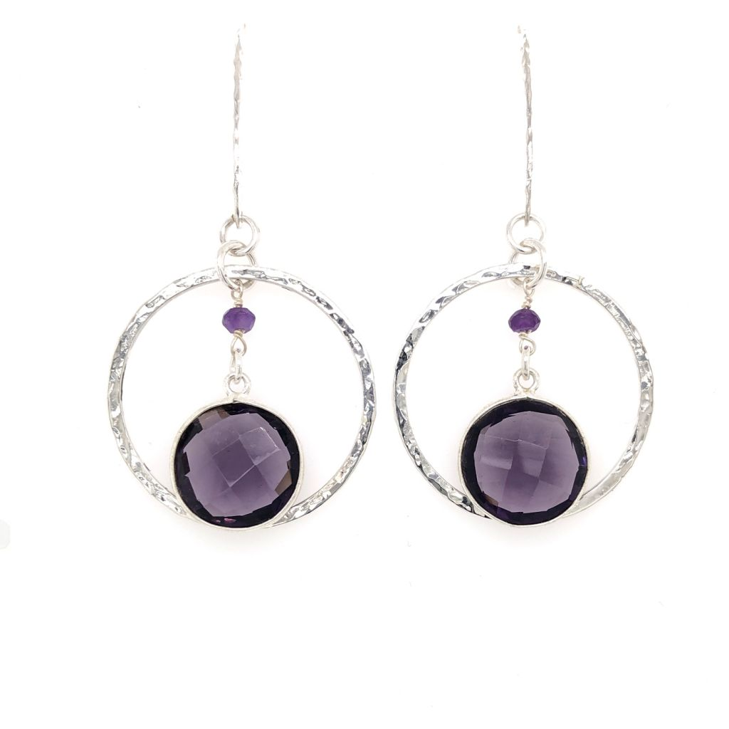 "Image Description of ""Bezeled Amethyst Gemstone Hoop Earrings""."