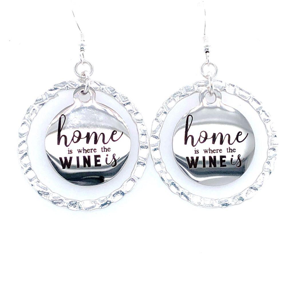 "Custom Laser Engraved ""Home is Where the Wine Is"" Earrings"