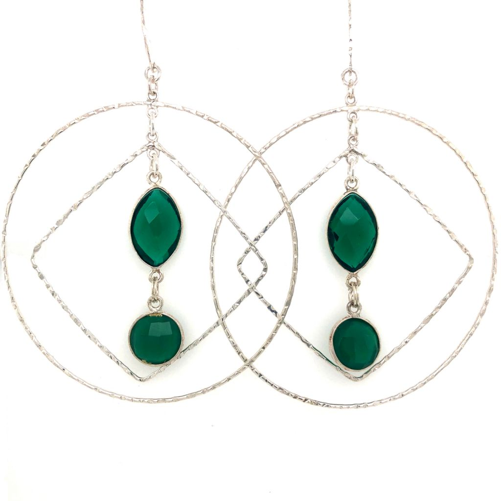 "Image Description of ""Emerald Green Amethyst Bezeled Gemstone Hoop Earrings""."