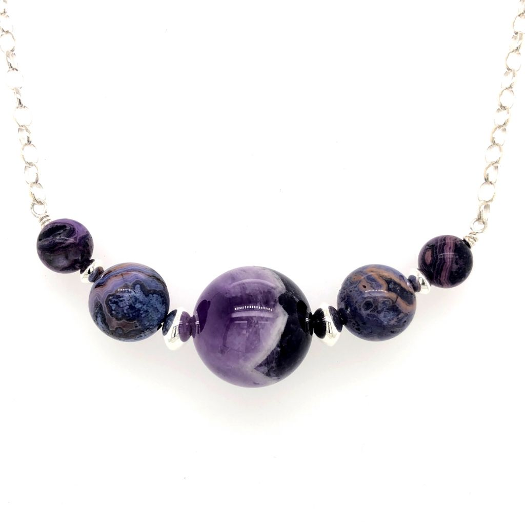"Image Description of ""Sterling Silver Five-Stone Chevron Amethyst Necklace""."