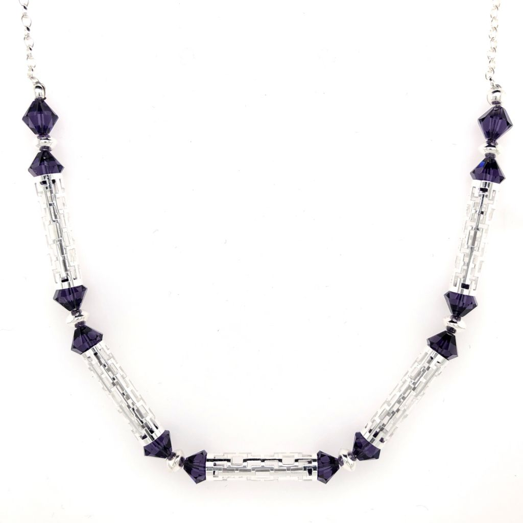 "Image Description of ""Sterling Silver Frame-Patterned Tube and Swarovski Bead Necklace""."