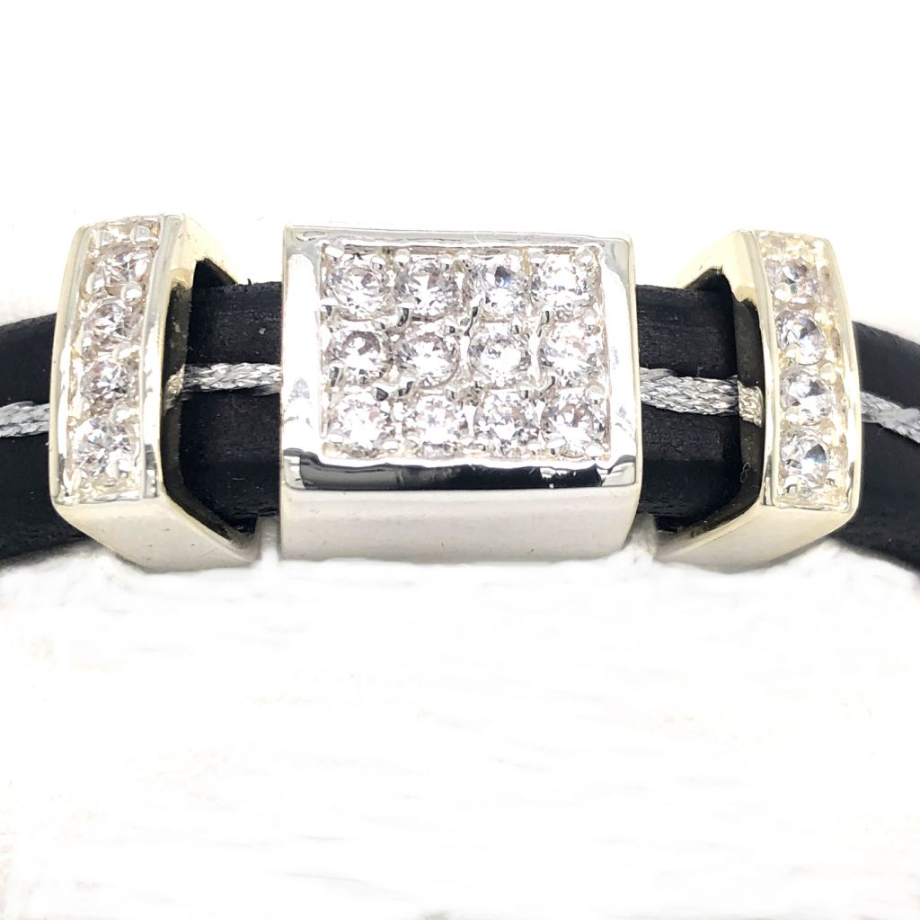 "Image Description of ""Black Regaliz™ Leather with Silver Thread & Rhinestone Slides Bracelet""."