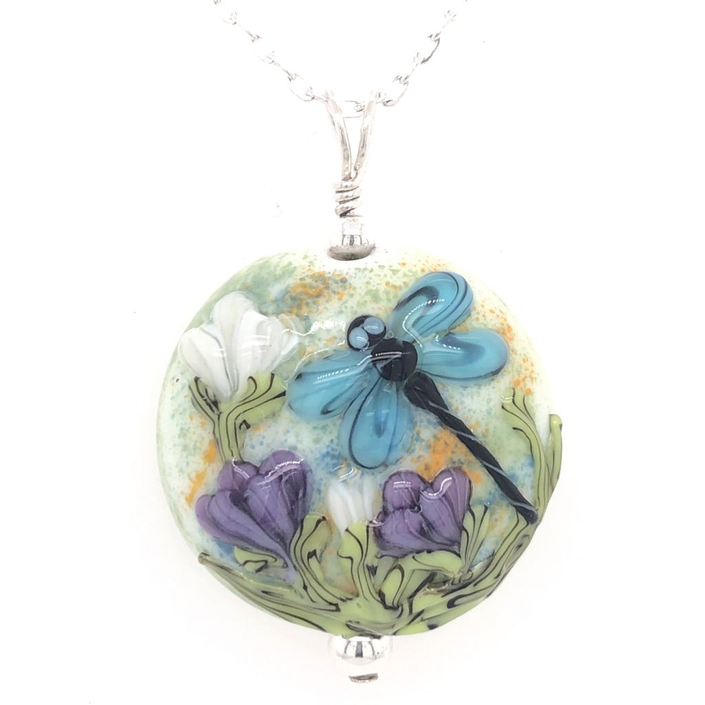 "Image Description of ""Round Lampwork Glass Dragonfly Necklace""."