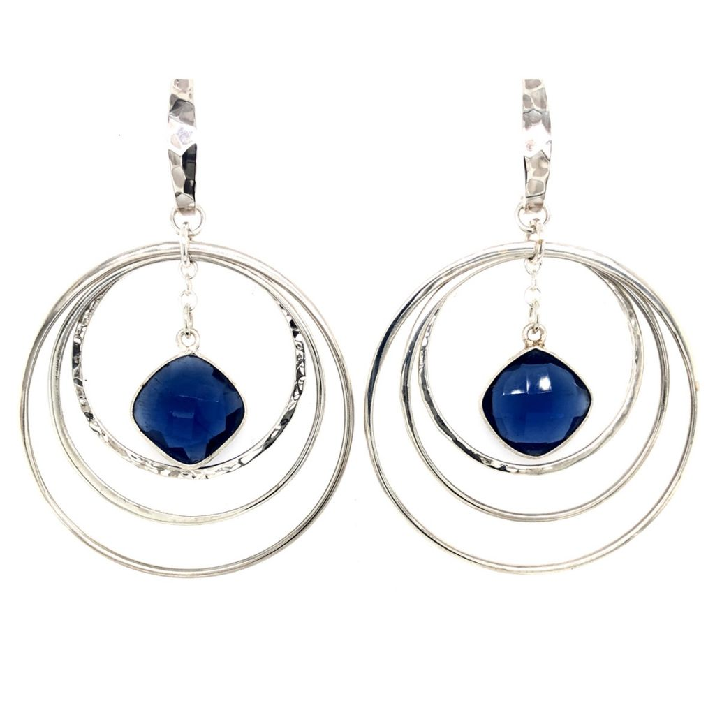 Bezeled Gemstone Hoop Earrings