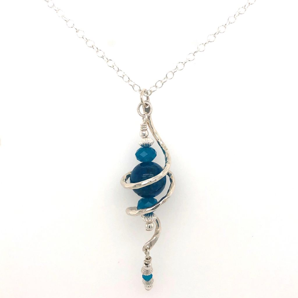 Large Hammered Sterling Silver Swirl with A Grade Blue Apatite Necklace
