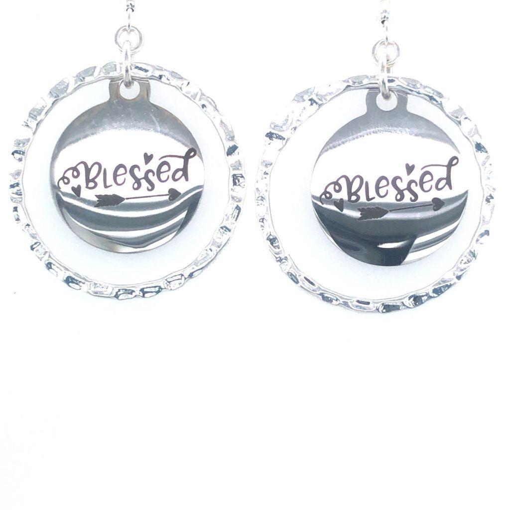 """Custom Laser Engraved """"Blessed"""" Earrings"""