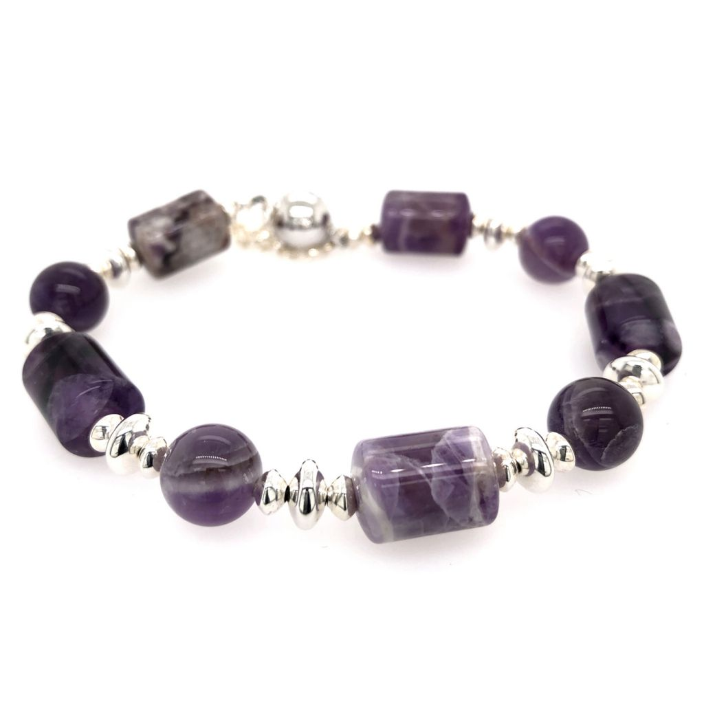 "Image Description of ""Dogtooth Amethyst Tubes & Rounds with Sterling Accents Bracelet""."