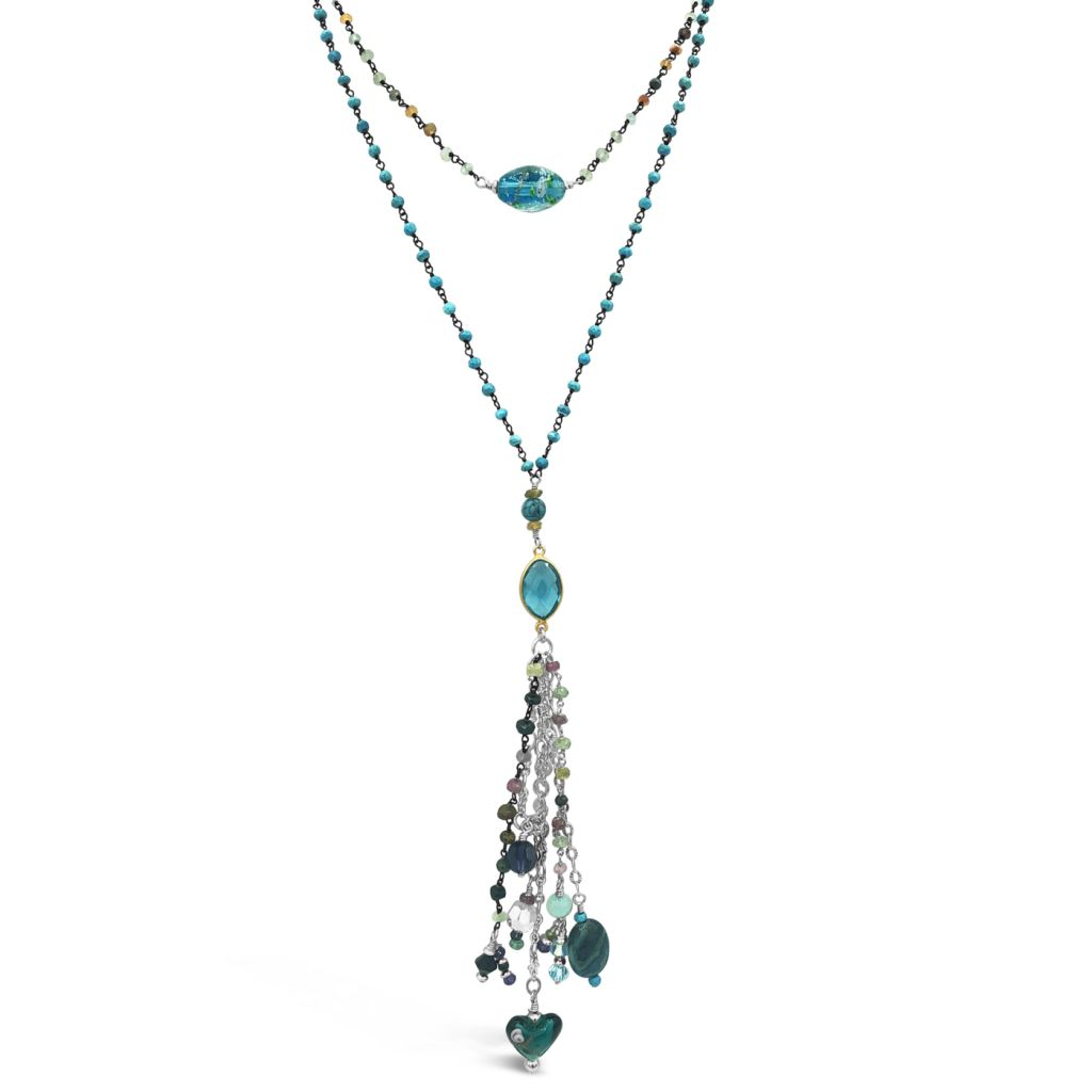 "Image Description of ""Two Strand Tourmaline & Turquoise Chain Necklace with Pendant & Multi-Gemstone Drop""."