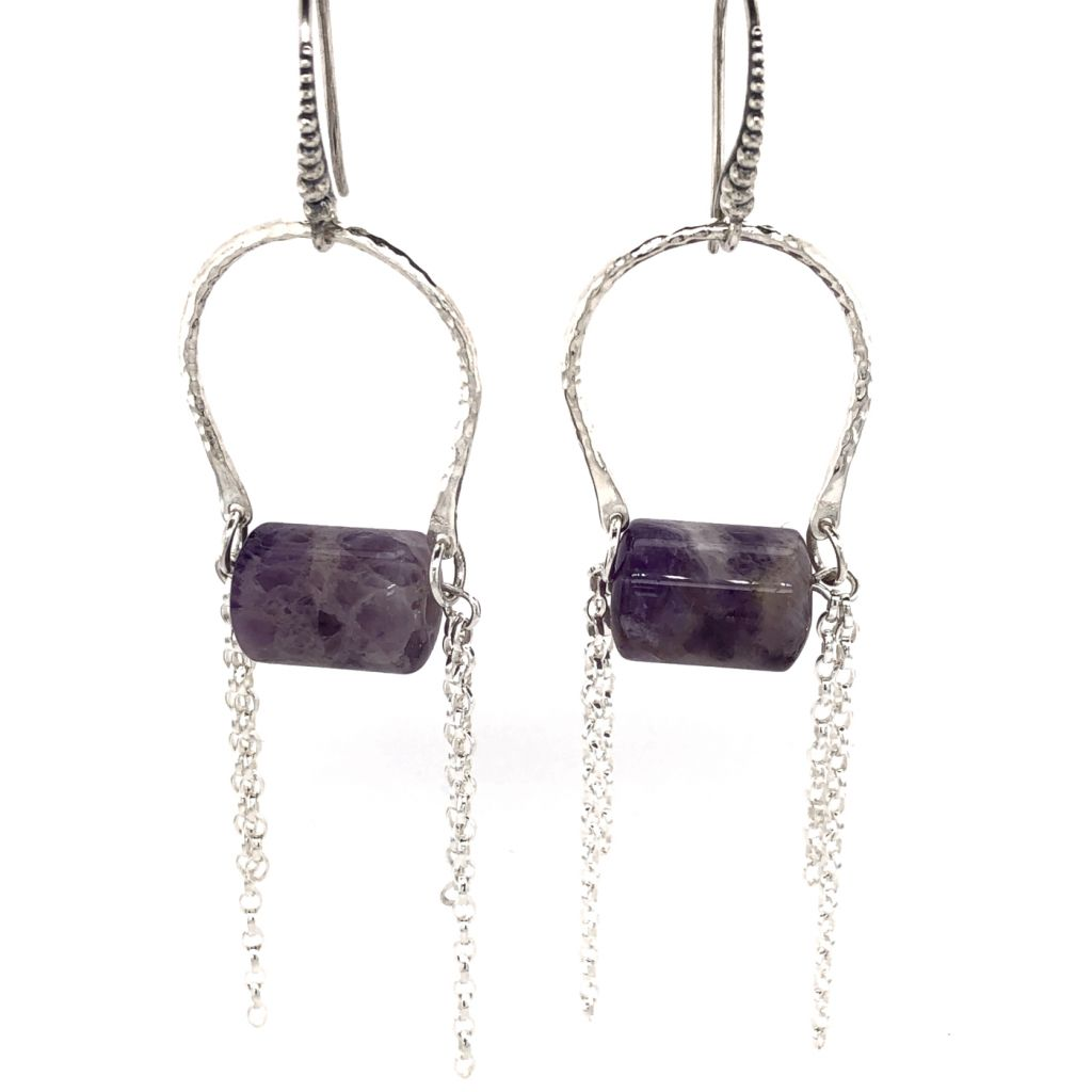 Sterling Silver Hammered U-Shaped Link with Amethyst Tube Earrings
