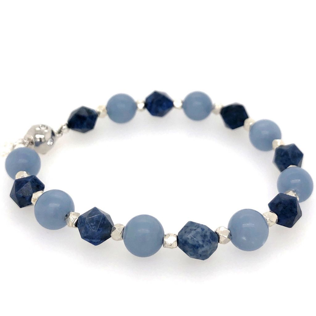 "Image Description of ""Sunset Dumortierite & Blue Angelite Bracelet""."